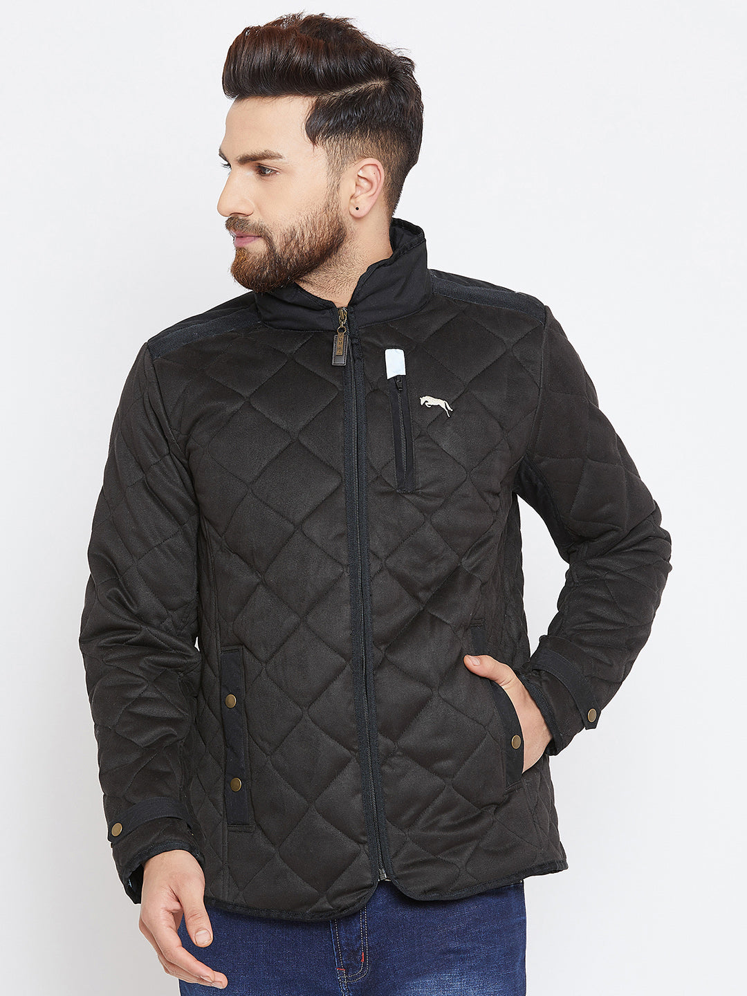 Men Black Solid Quilted Jacket