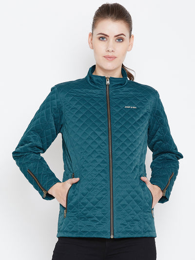 Womens Solid Celtic Blue Quilted Jacket - JUMP USA