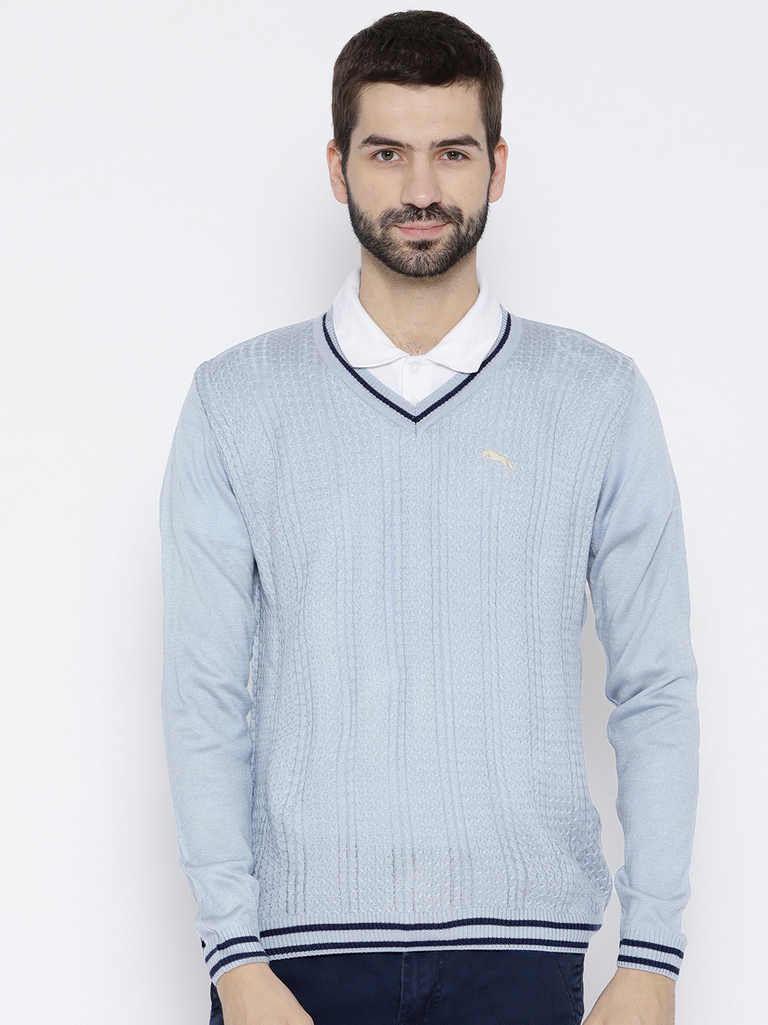 Men Blue Self Design Pullover