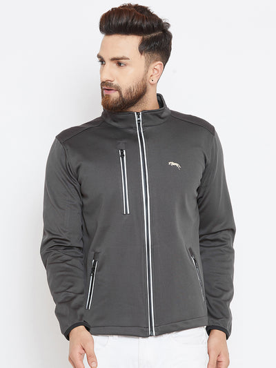Men Charcoal Solid Sporty Jacket - JUMP USA