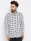JUMP USA Men White & Black Regular Fit Checked Casual Shirt - JUMP USA