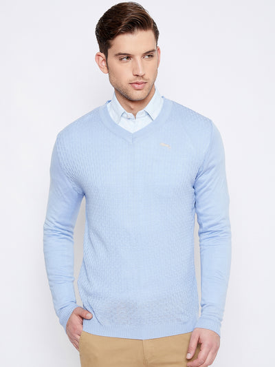 JUMP USA Men Blue Self-Design Pullover - JUMP USA