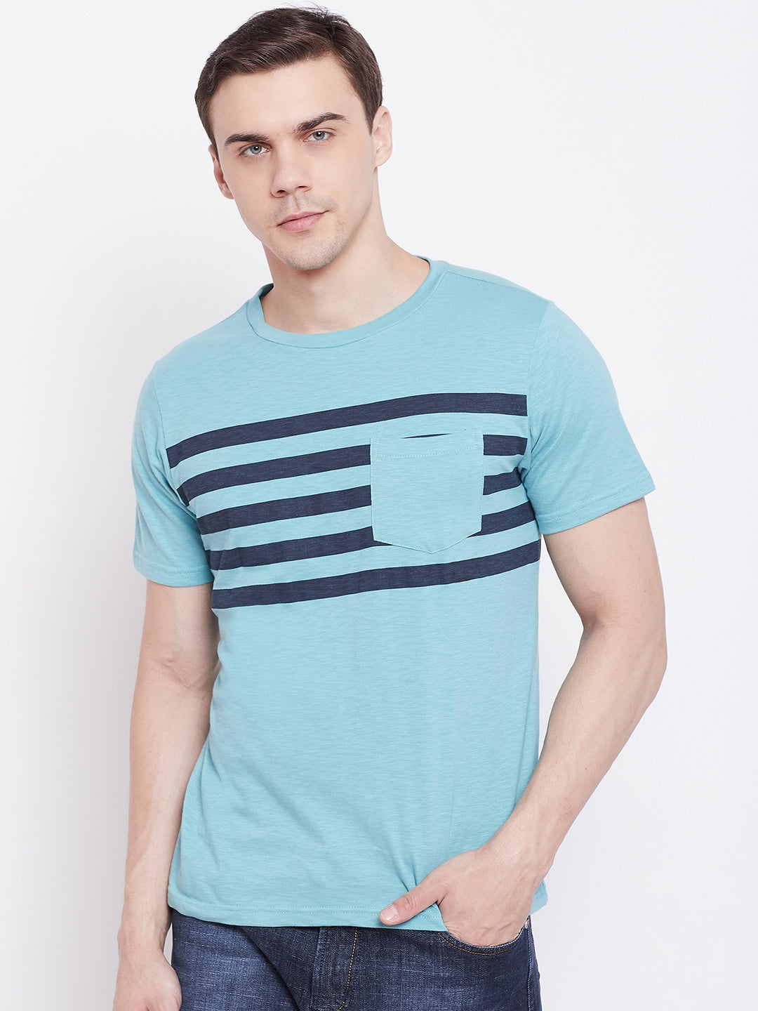 JUMP USA Men Blue Striped Round Neck T-shirt
