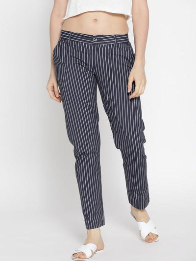 Women Striped Navy Blue Trousers - JUMP USA