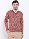 Men Casual Printed Red Sweaters - JUMP USA