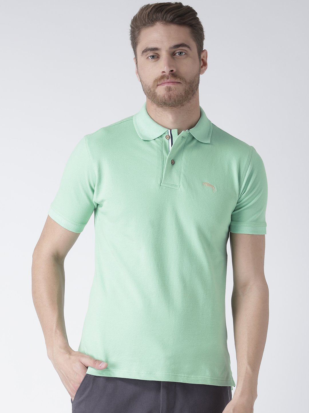 Men Green Solid Polo Collar T-Shirt