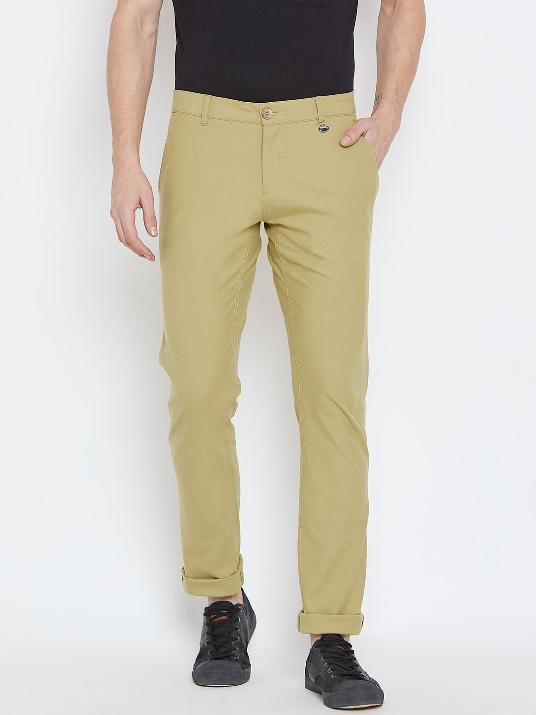 Men Beige Casual Trousers