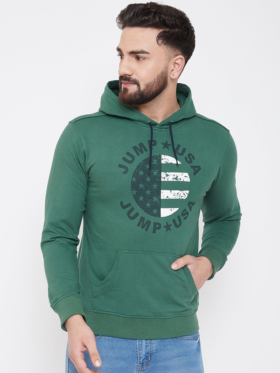 JUMP USA Men Hunter Self Design Hooded Sweatshirt