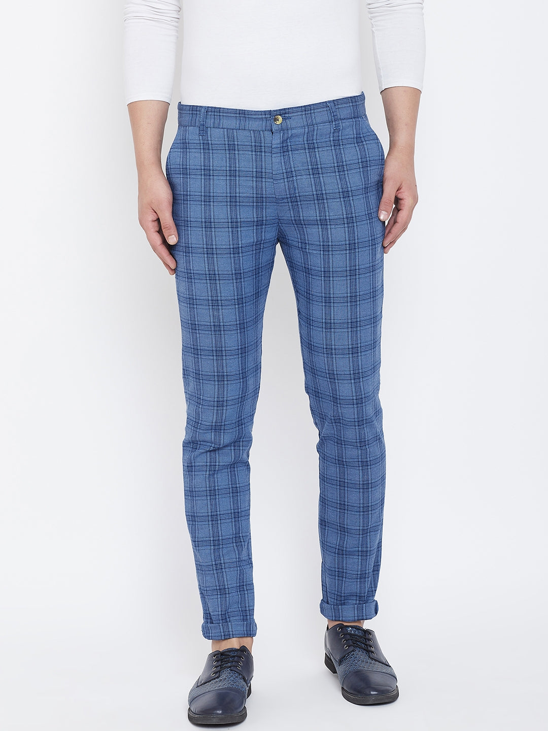 JUMP USA Men Blue Check Slim Fit Cotton Casual Trousers