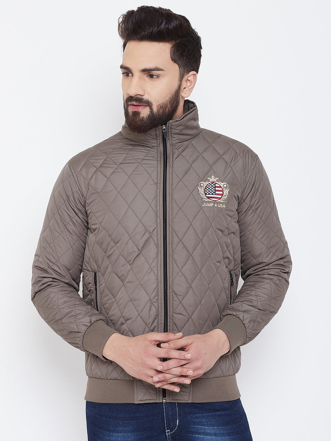 JUMP USA Men Brown Design Casual Quilted Jacket