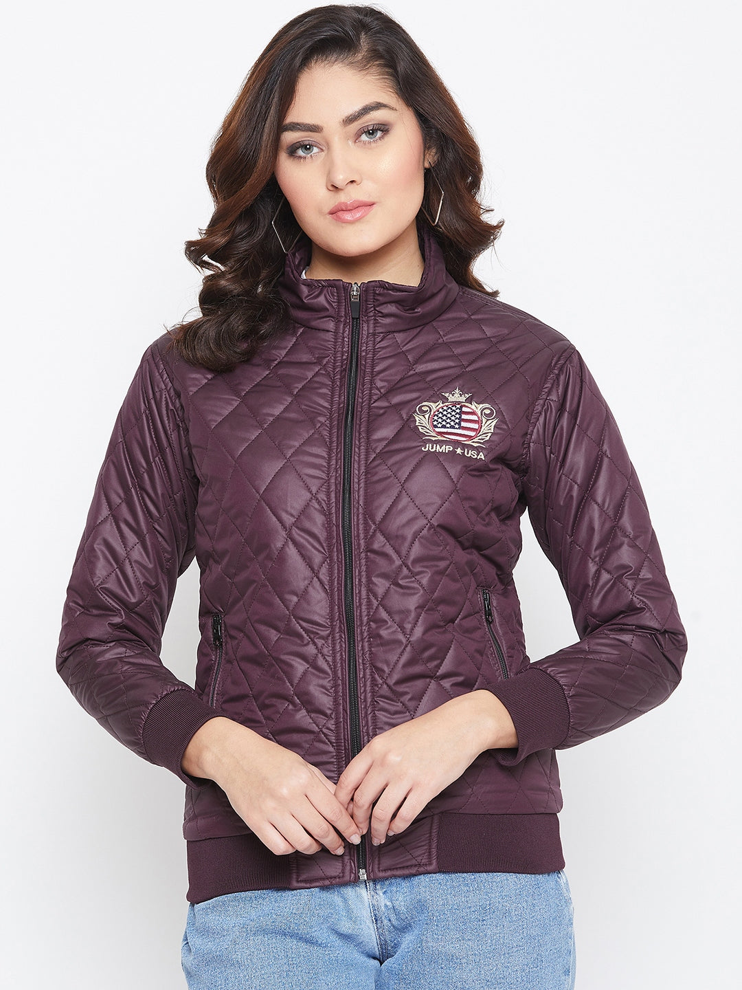JUMP USA Women Wine Self Design Jacket