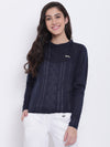 Women Navy Blue Casual Sweaters - JUMP USA