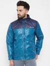JUMP USA Men Navy Blue Colourblocked Rain Jacket - JUMP USA