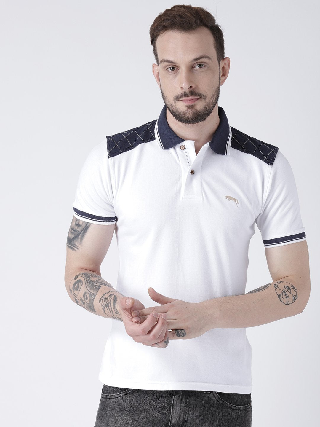 Men White Solid Polo T-shirt