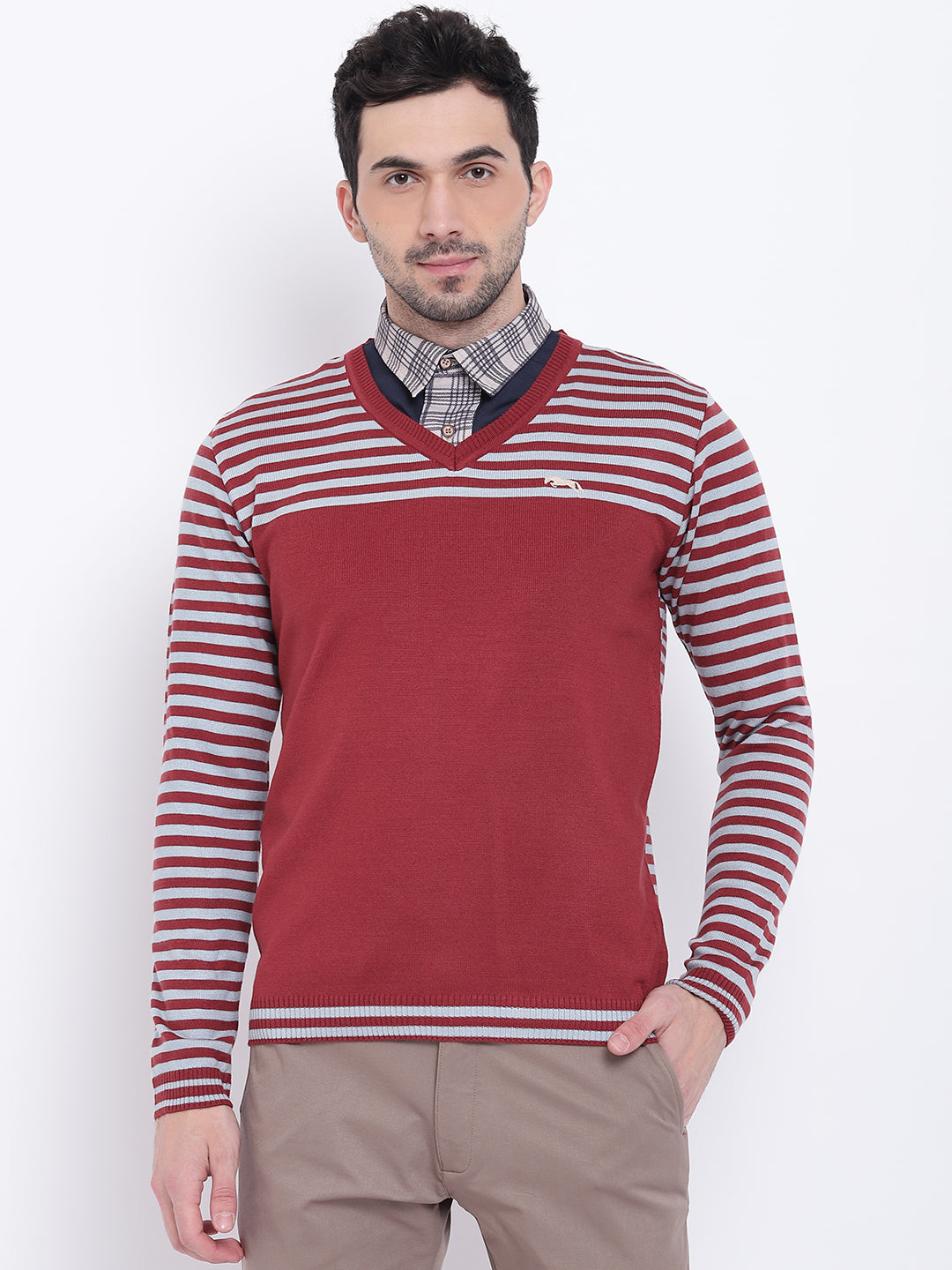 Men Casual Striped Red Sweaters