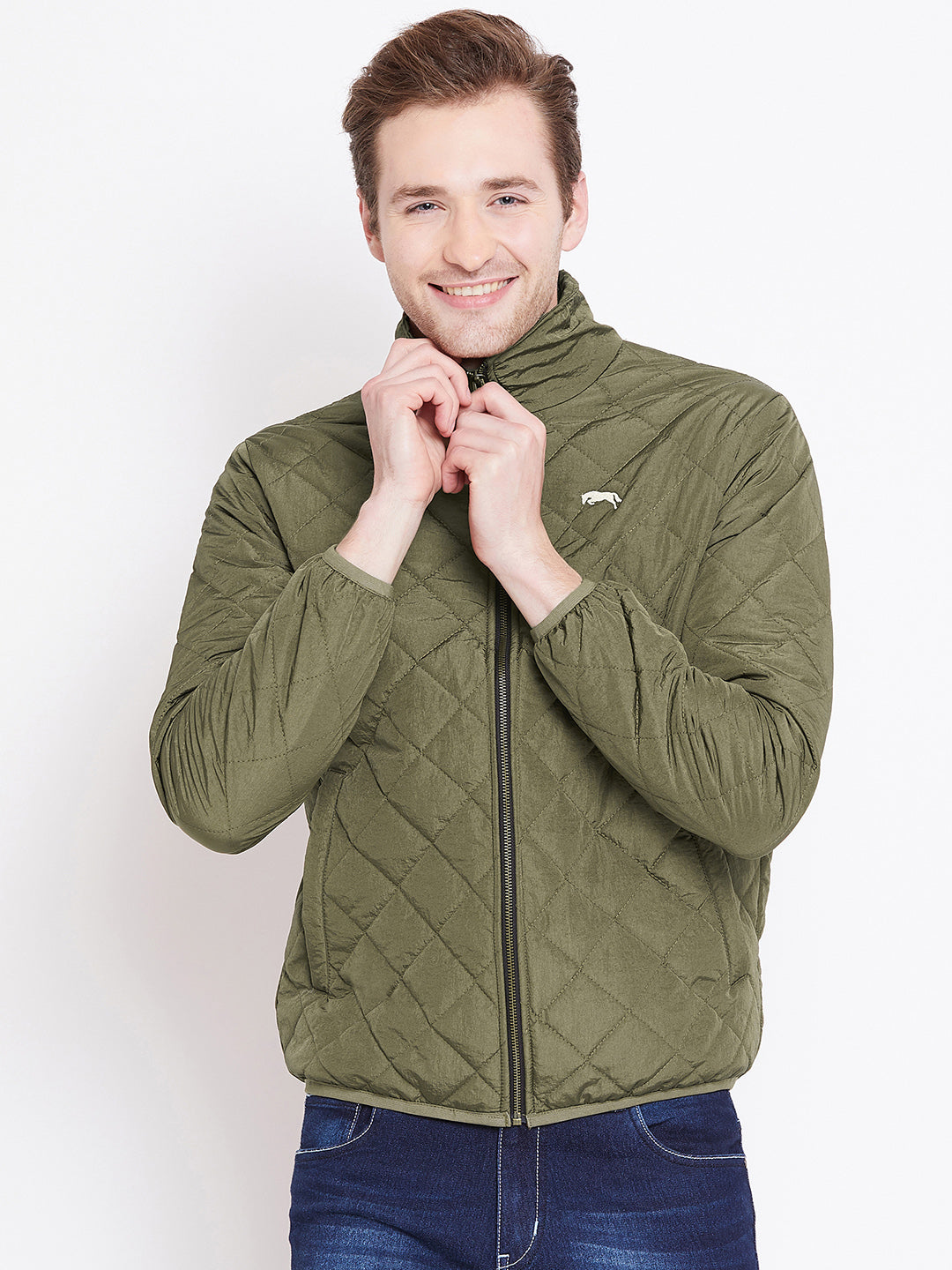 Mens Solid Military Olive Quilted Jacket