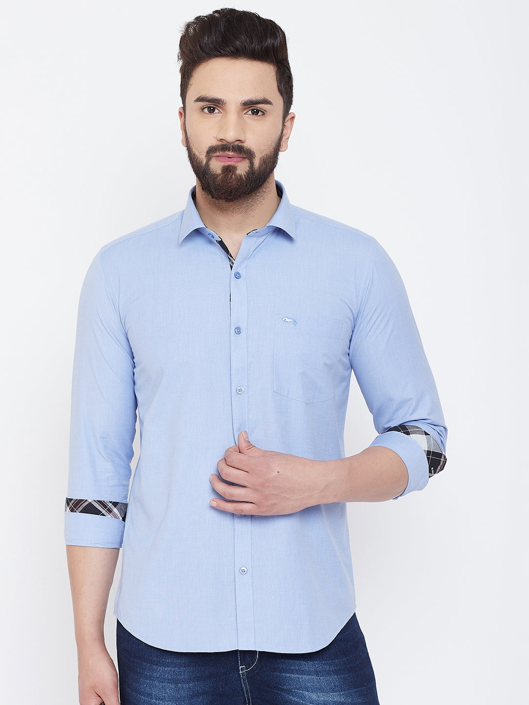 JUMP USA Men Powder Blue Solid Cotton Casual Shirts