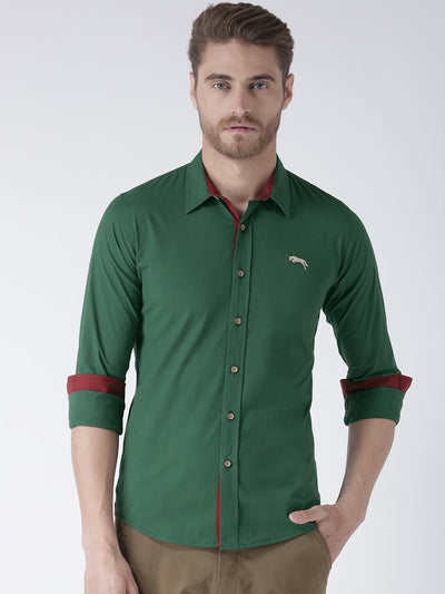 Men Green Regular Fit Solid Casual Shirt - JUMP USA