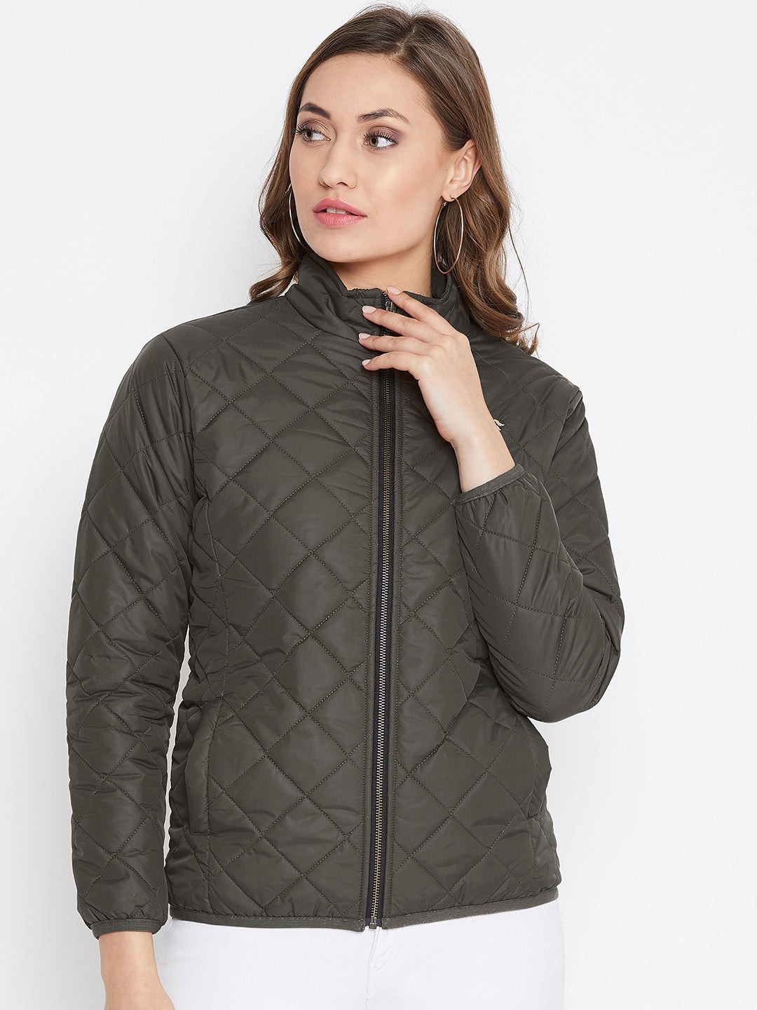 JUMP USA Women Olive Casual Quilted Jacket - JUMP USA