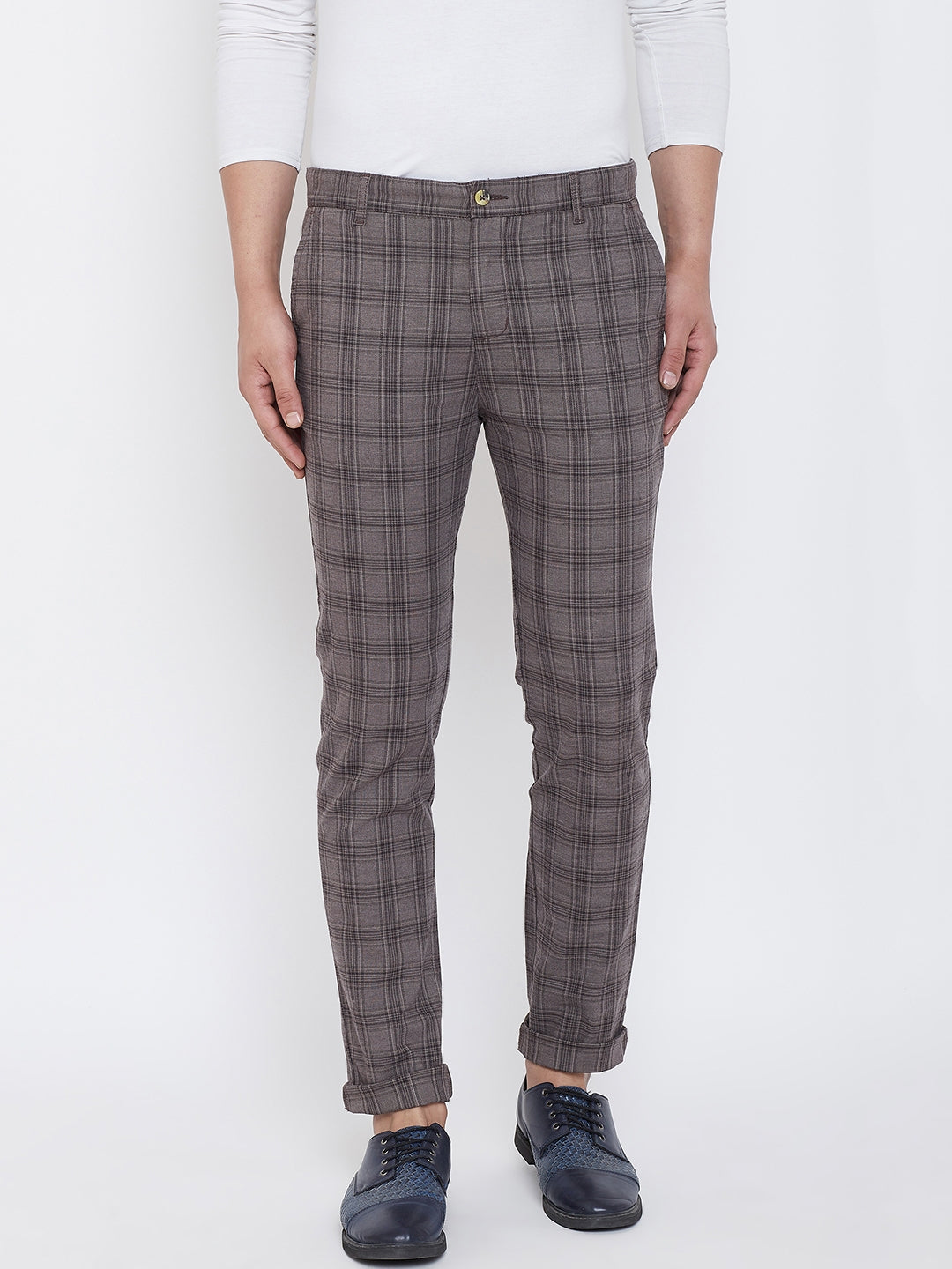 JUMP USA Men Grey Check Slim Fit Cotton Casual Trousers