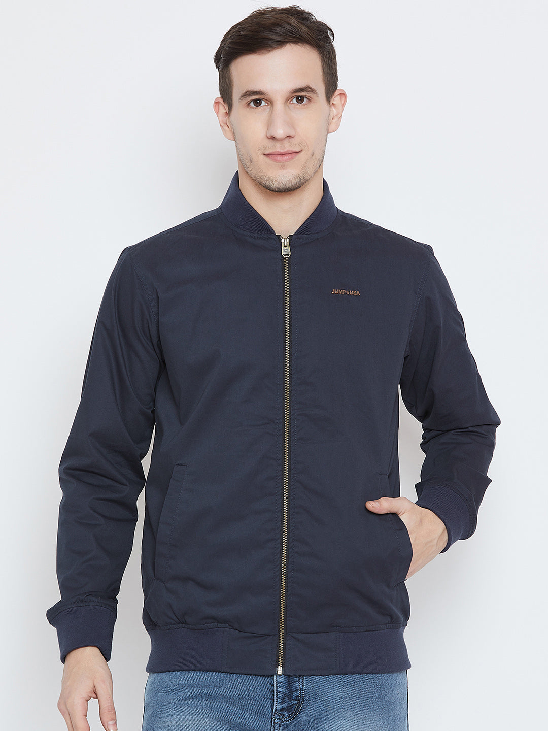 Men Casual Navy Blue Bomber Jacket - JUMP USA