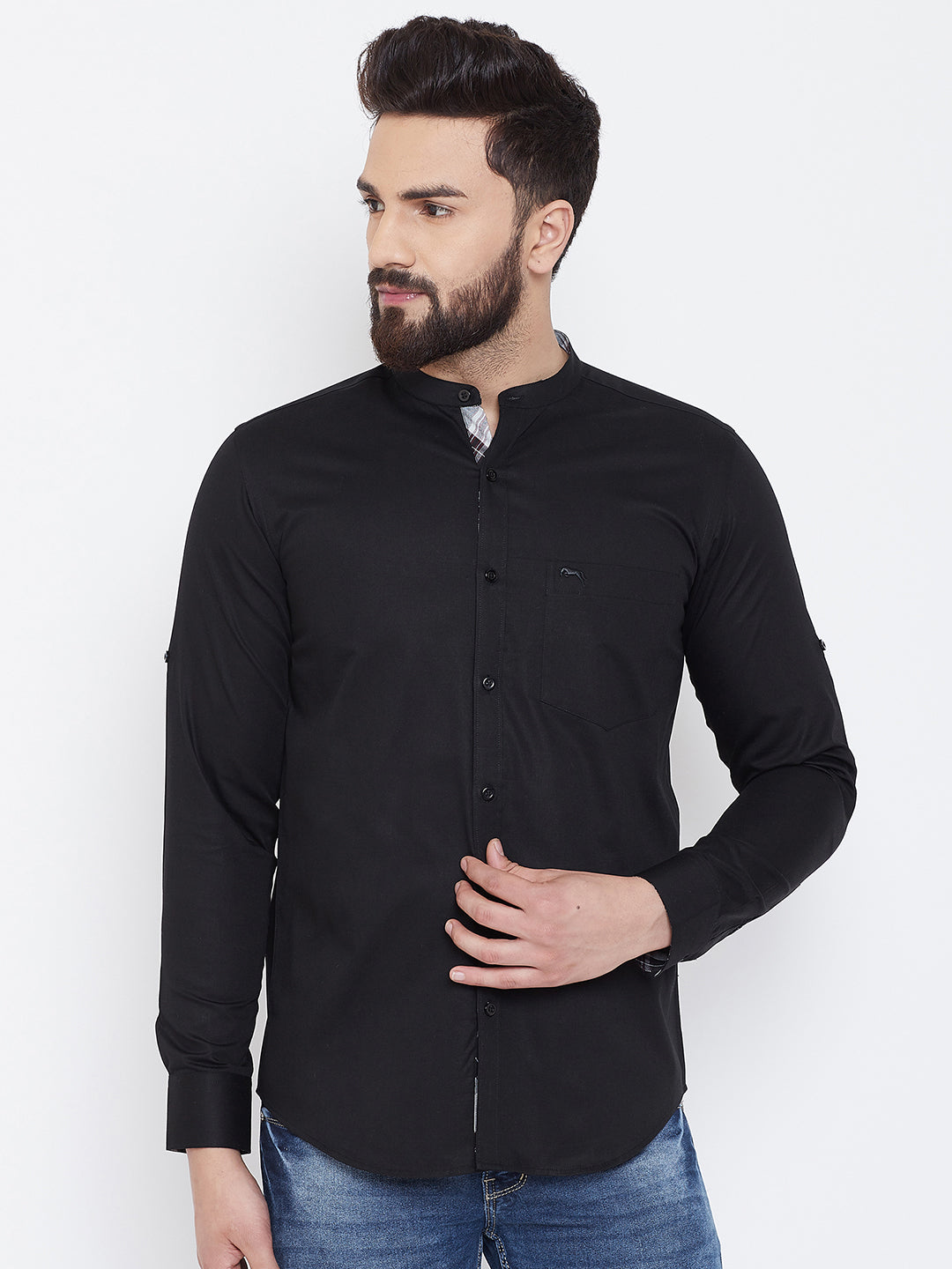 JUMP USA Men Black Solid Cotton Casual Shirts