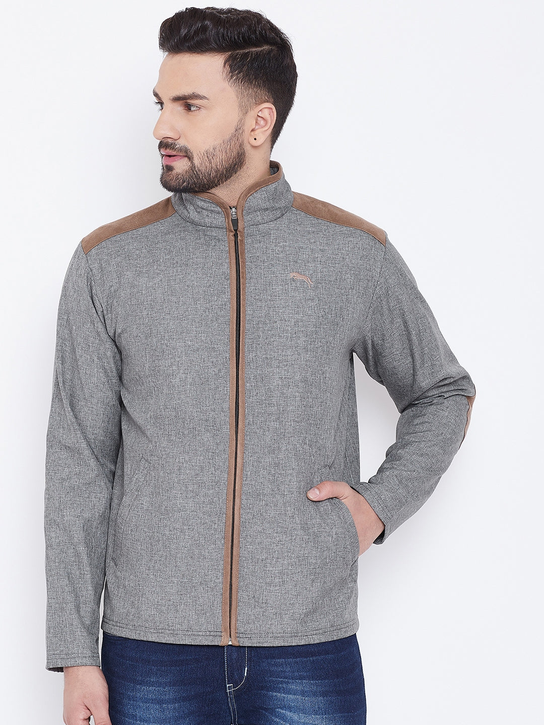 JUMP USA Men Grey Solid Bomber Jacket
