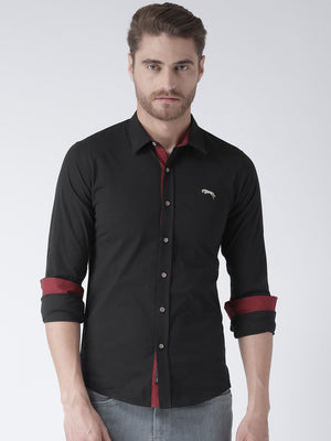 JUMP USA Men Black Solid Cotton Regular Fit Shirt - Jump USA