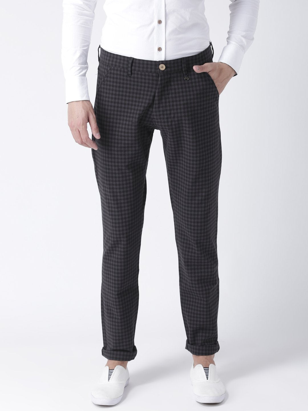 Men Charcoal Slim Fit Checked Chinos