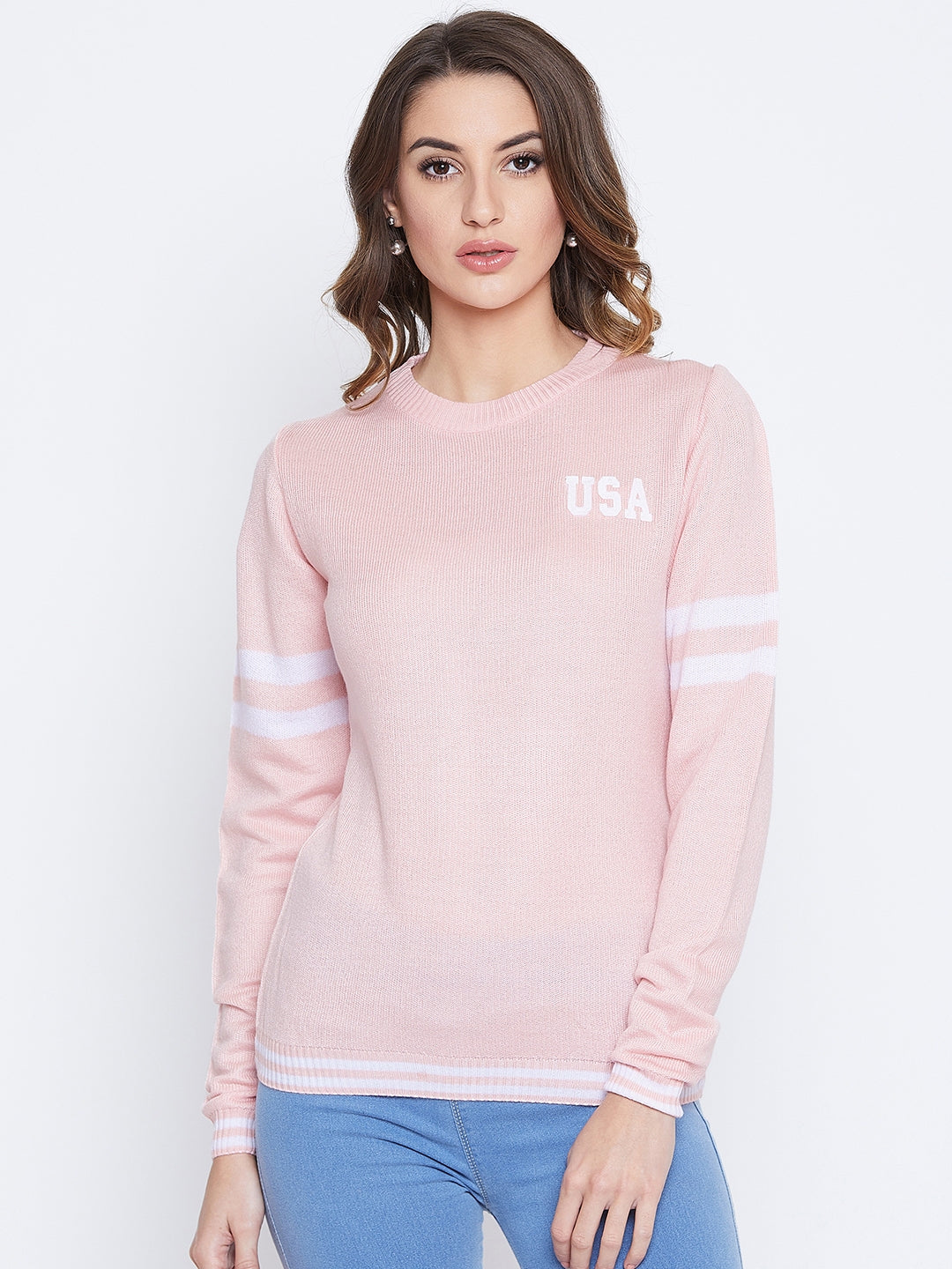 JUMP USA Women Pink Solid Sweaters