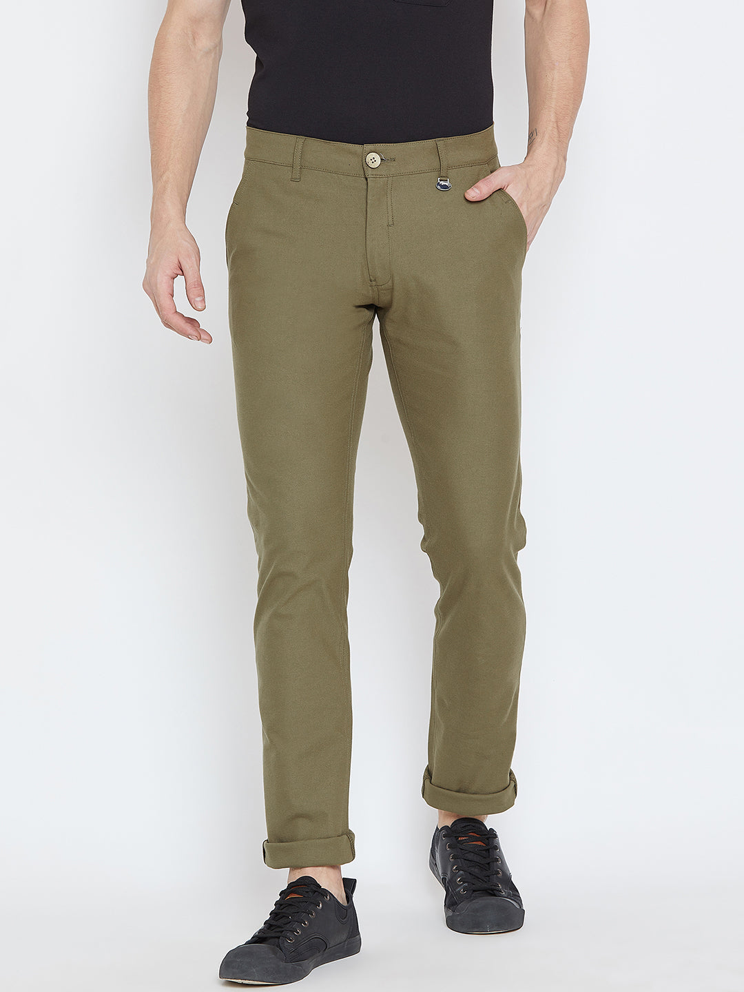 Men Olive Casual Trousers - JUMP USA