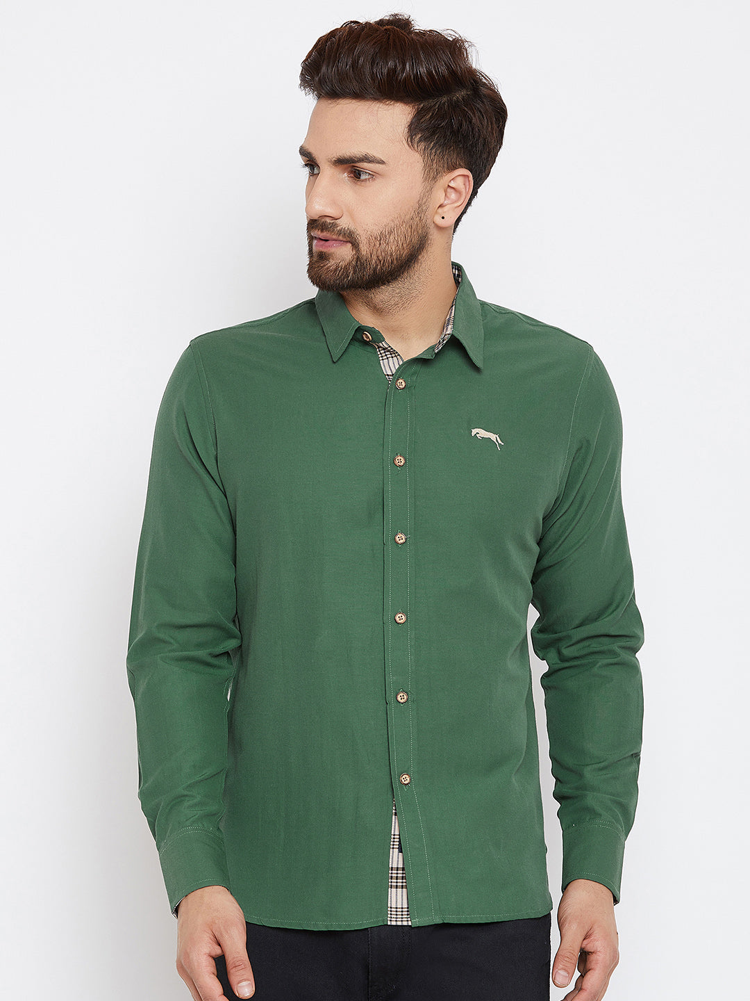JUMP USA Men Green Regular Fit Solid Casual Shirt