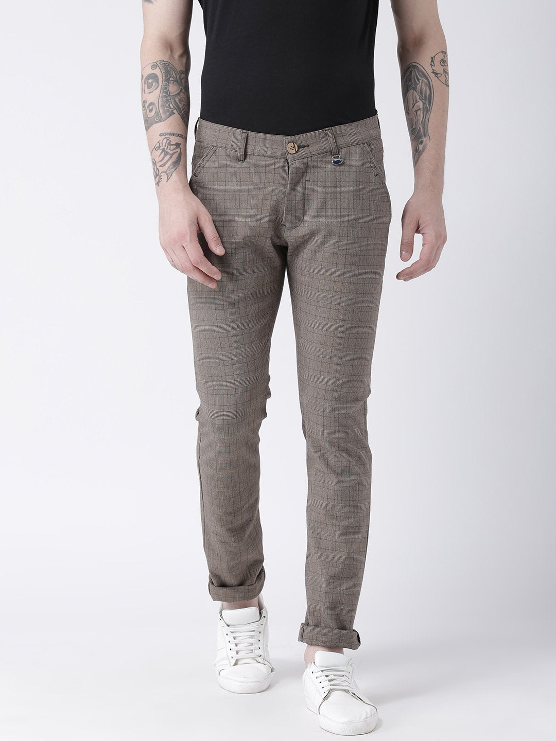 Men Grey Slim Fit Checked Chinos