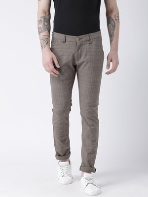 JUMP USA Men Grey Slim Fit Checked Chinos - Jump USA