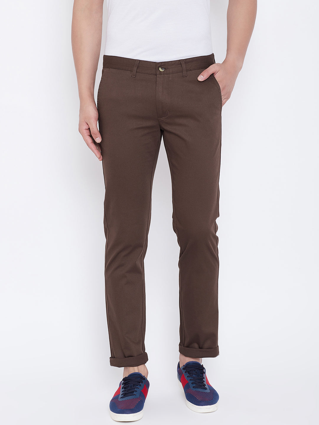 JUMP USA Men Coffee Regular Fit Solid Trousers - JUMP USA