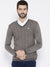 Men Beige self Design Pullover
