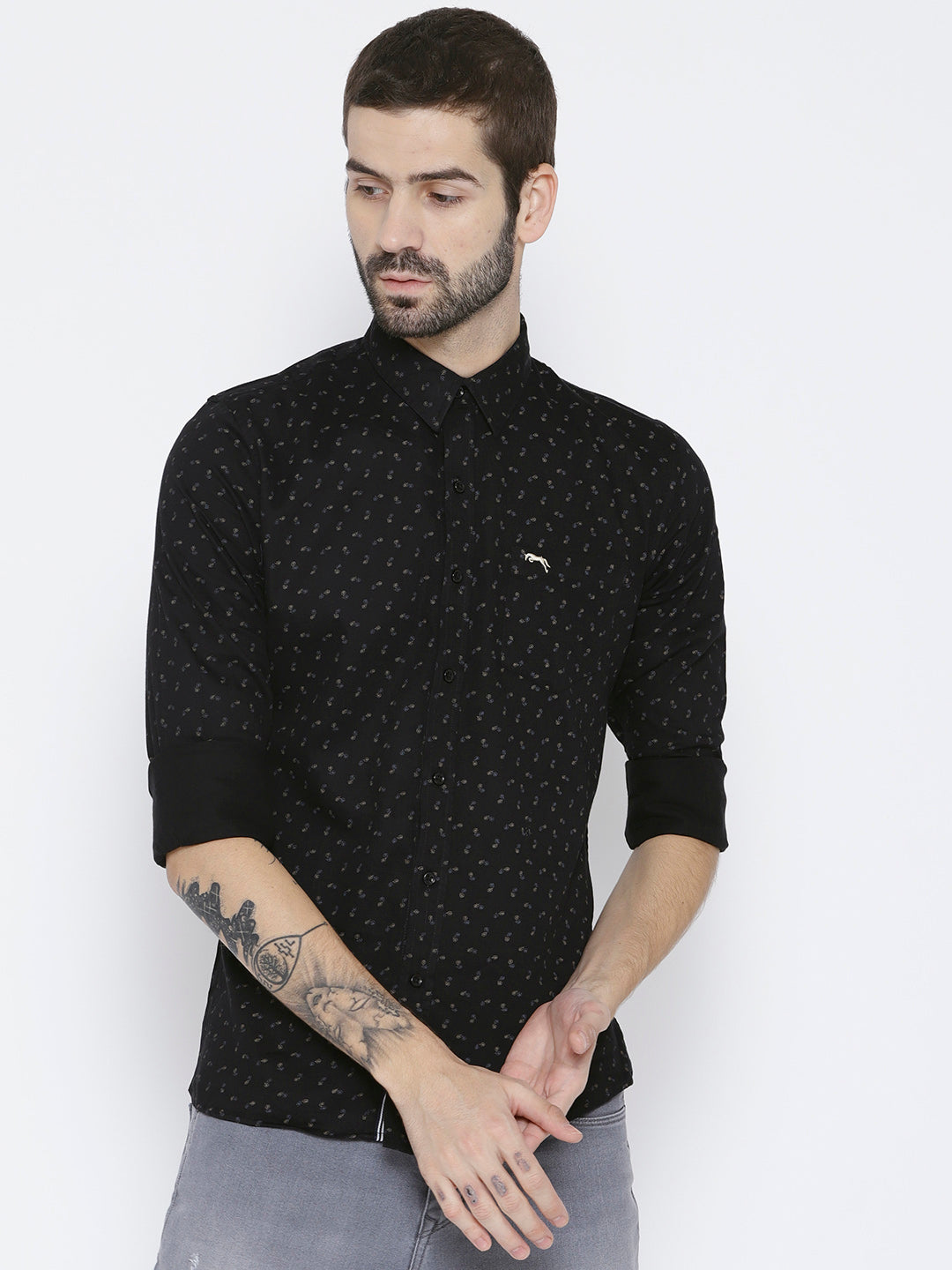 Men Black Slim Fit Printed Casual Shirt