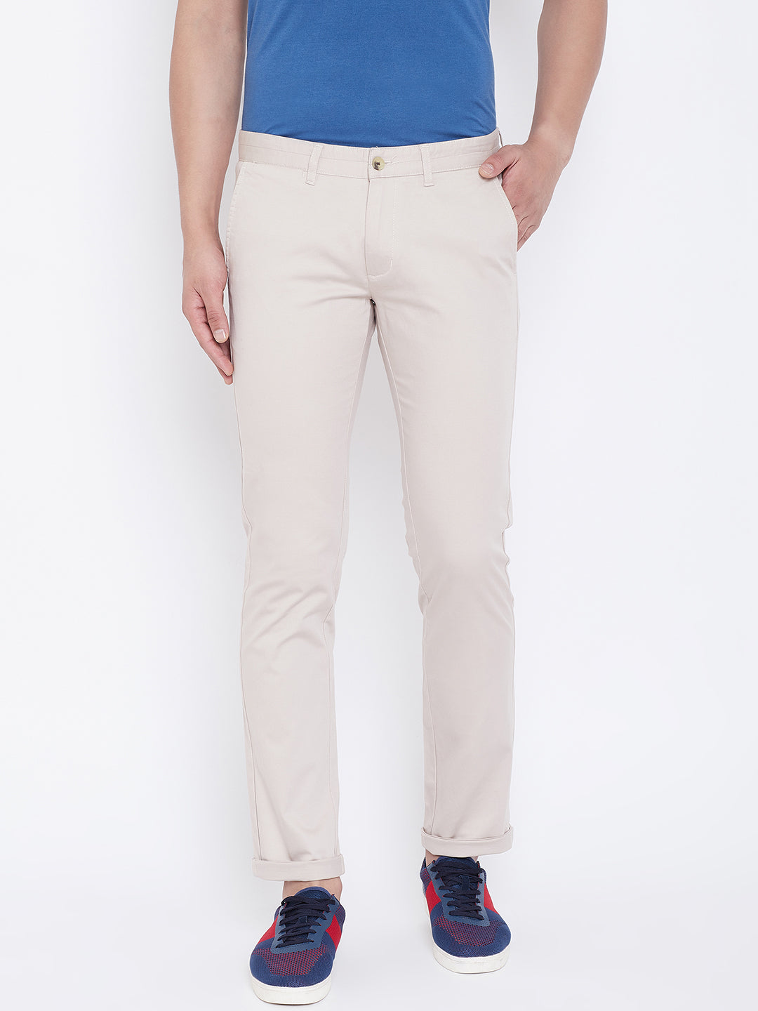 JUMP USA Men Beige Regular Fit Solid Trousers