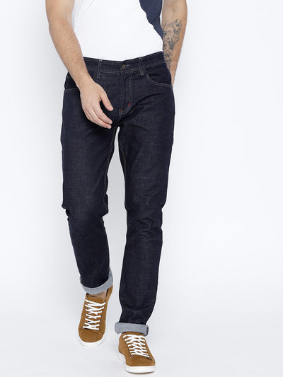 Men Navy Blue Regular Fit Mid-Rise Clean Look Stretchable Jeans - JUMP USA