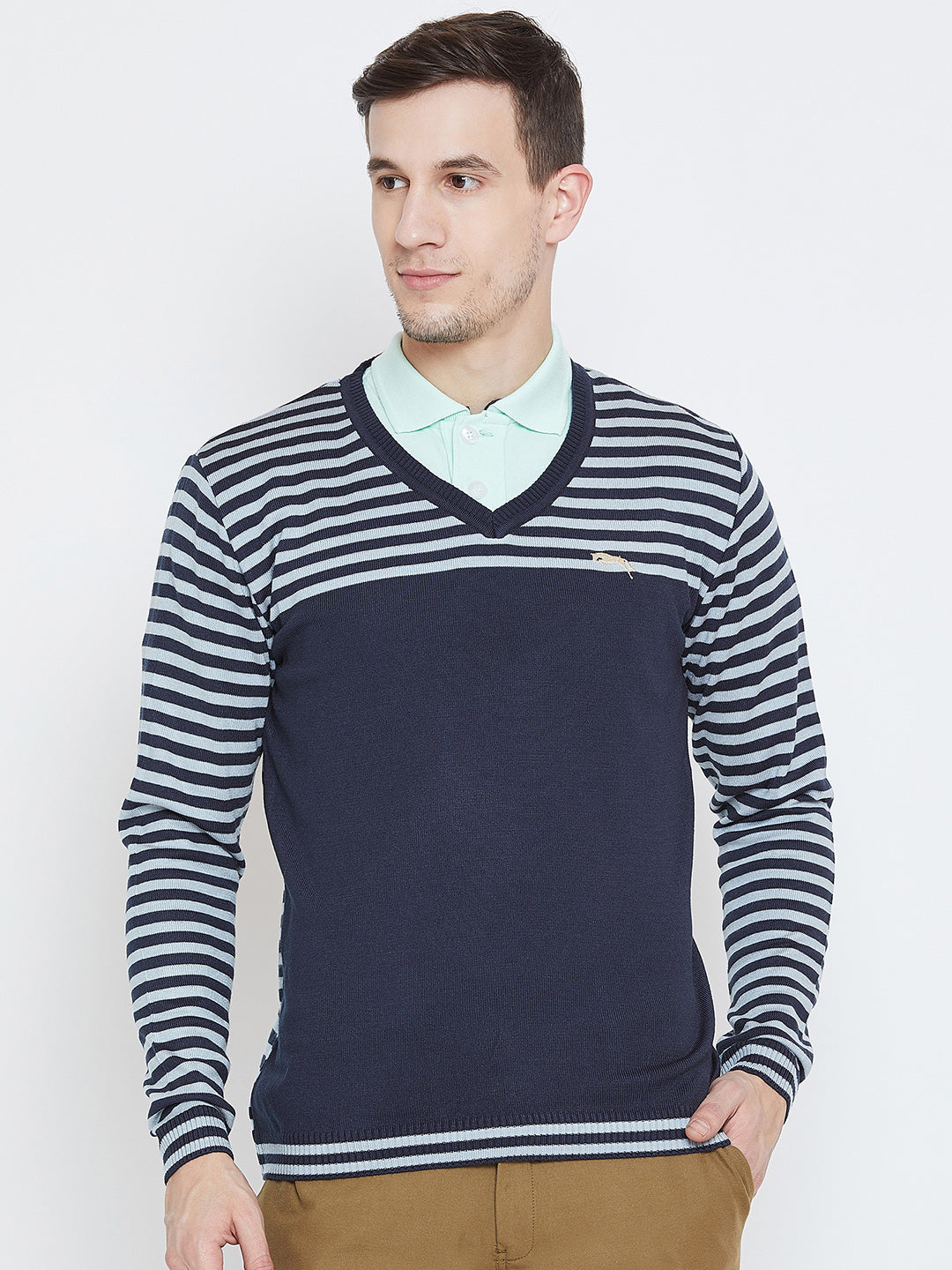 Men Navy Blue Casual Sweaters