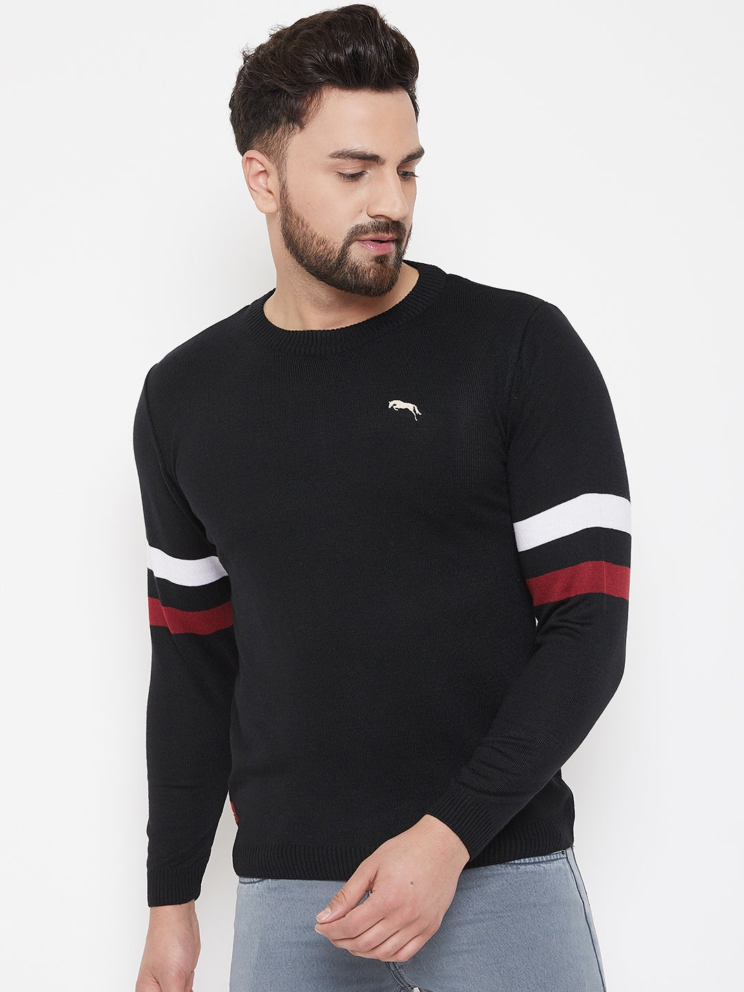 JUMP USA Men Black Solid Sweater