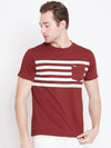 JUMP USA Men Red Striped Casual T-shirt_1