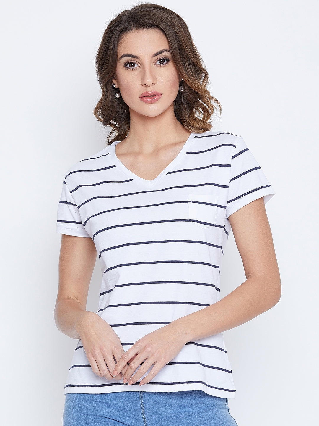JUMP USA Women Navy Blue Striped V-neck T-shirt - JUMP USA