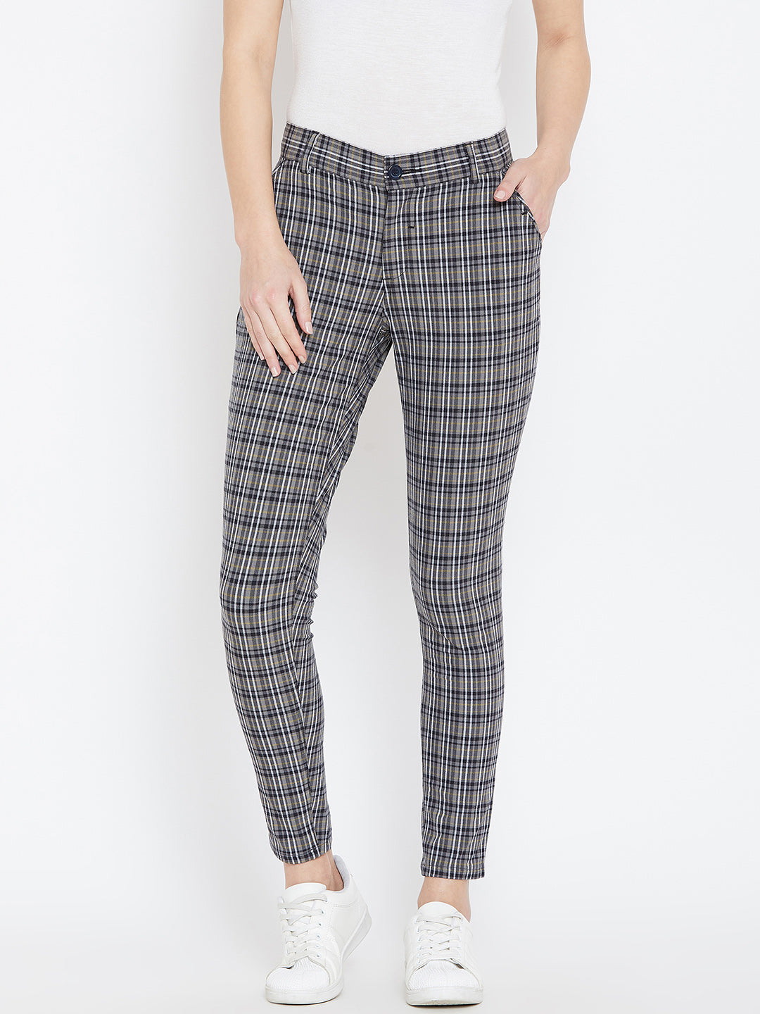 Women Grey Checked Casual Trousers - JUMP USA