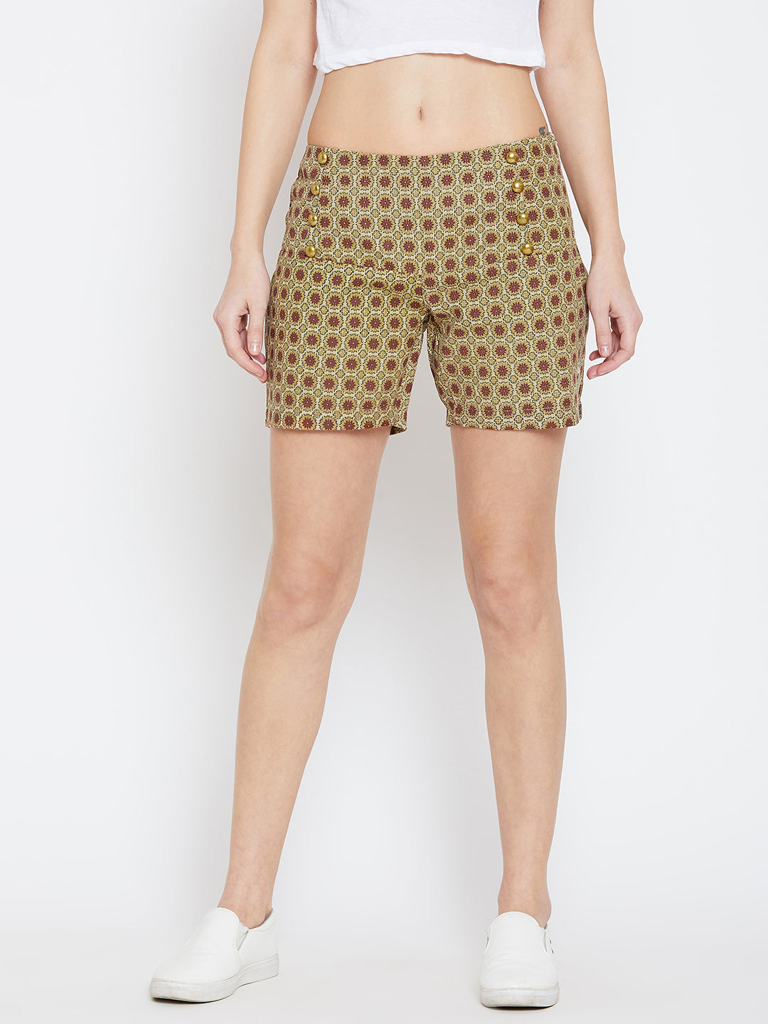 JUMP USA Women Beige & Red Printed Shorts - JUMP USA