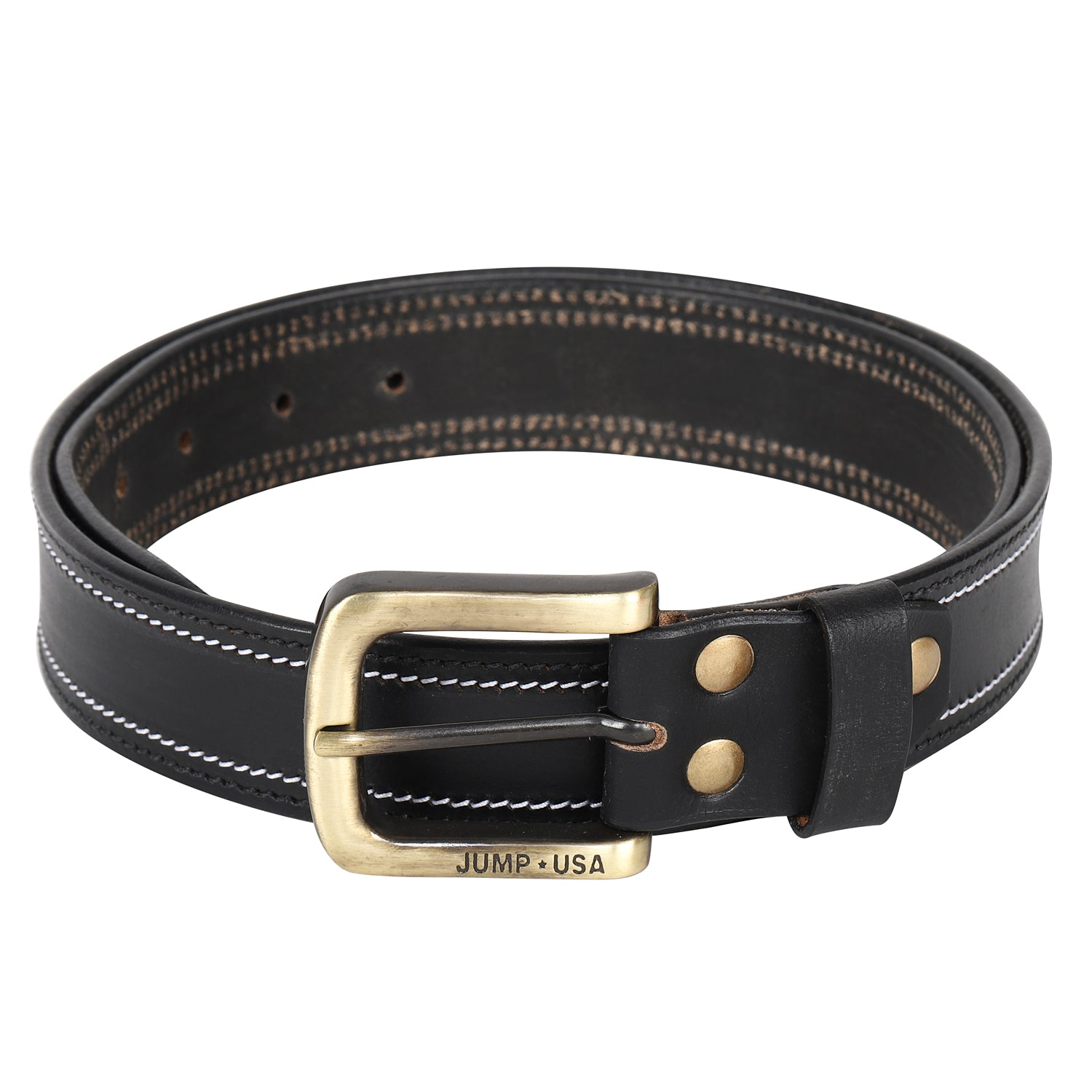 Men Leather Black Belts With Metal Buckle