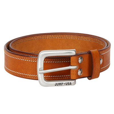 Men Leather Tan Belts With Metal Buckle - JUMP USA