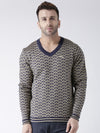 Men Navy Blue and Beige Colourblocked Pullover - JUMP USA