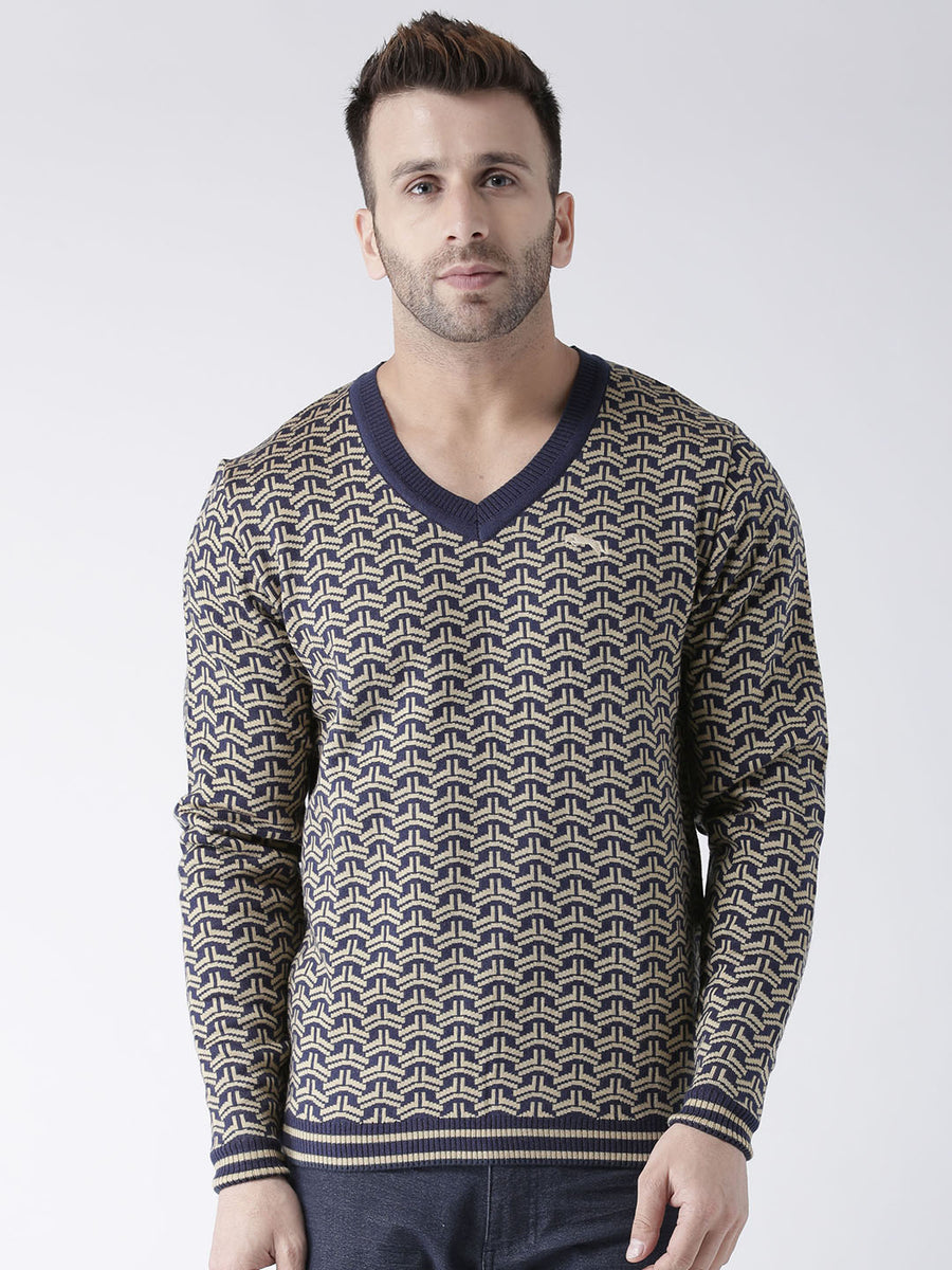 Men Navy Blue and Beige Colourblocked Pullover - JUMP USA 139c5612c