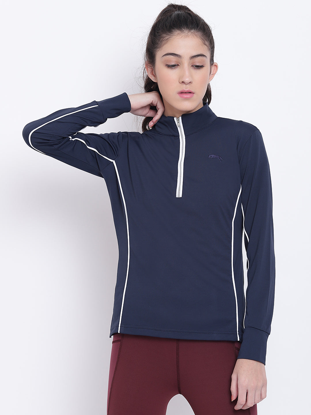 Women Navy Blue Casual T-shirt - JUMP USA